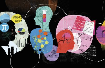 Illustration of human heads contemplating different academic disciplines