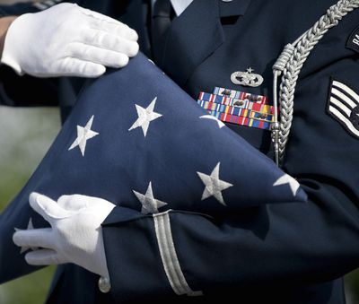 U.S. honor guard performs a flag folding demonstration.