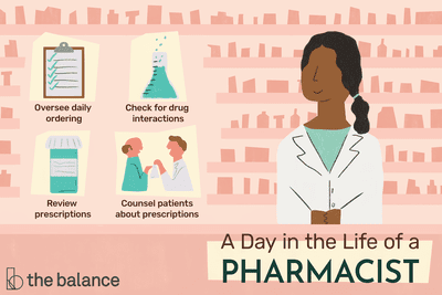A day in the life of a pharmacist: Oversee daily ordering, check for drug interactions, review prescriptions, counsel patients about prescriptions