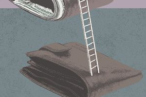 two wallets with a ladder leading from the bottom one to the top representing a salary increase