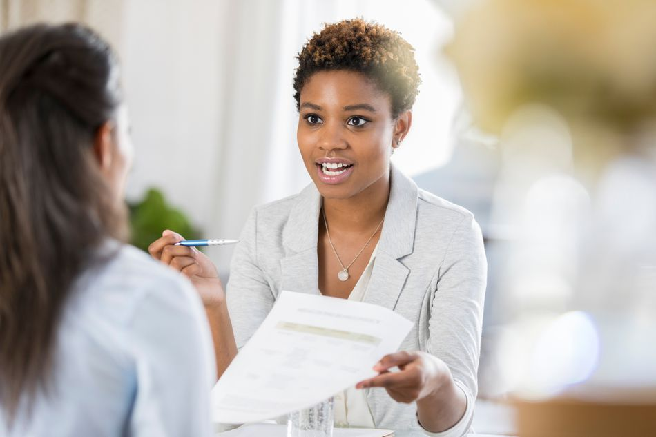 Career coach with client