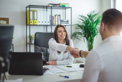 Human resource woman interviewing a job candidate