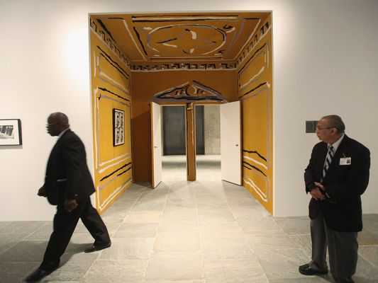 Security guards look on at the 2012 Whitney Biennial at the Whitney Museum of American Art on February 27, 2012 in New York City.