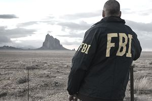 A special agent overlooks the Shiprock land formation on the Navajo Nation in New Mexico.