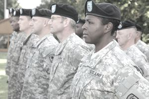 Members of the 457th Civil Affairs Battalion standing at attention.