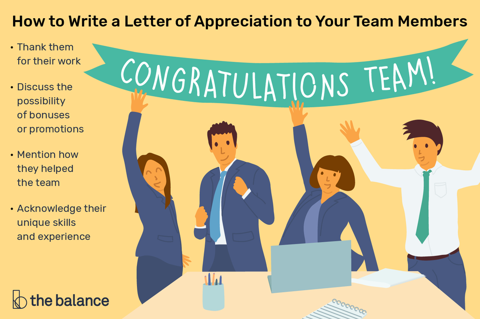 This illustration shows how to write a letter of appreciation to your team members including to thank them for their work, discuss the possibility of bonuses or promotions, mention how they helped the team, acknowledge their unique skills and experience.