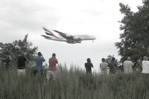 People gathered to plane spot