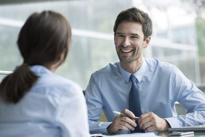 Manager interviewing job candidate