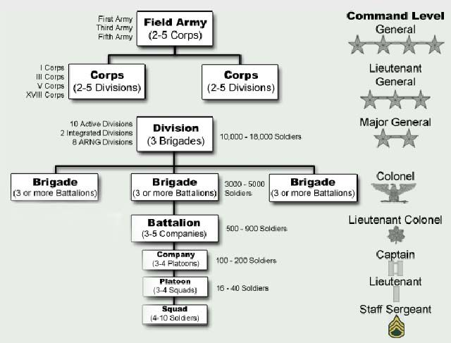 U.S. Army Military Organization - From Squad To Corps