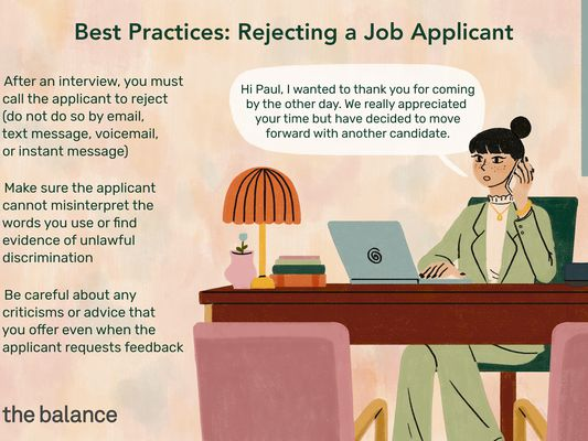 "This illustration describes Best Practices for rejecting a job applicant including ""After an interview, you must call the applicant to reject (do not do so by email, text message, voicemail, or instant message),"" ""Make sure the applicant cannot misinterpret the words you use or find evidence of unlawful discrimination,"" and ""Be careful about any criticisms or advice that you offer even when the applicant requests feedback."""