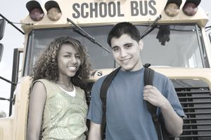 Teens with school bus