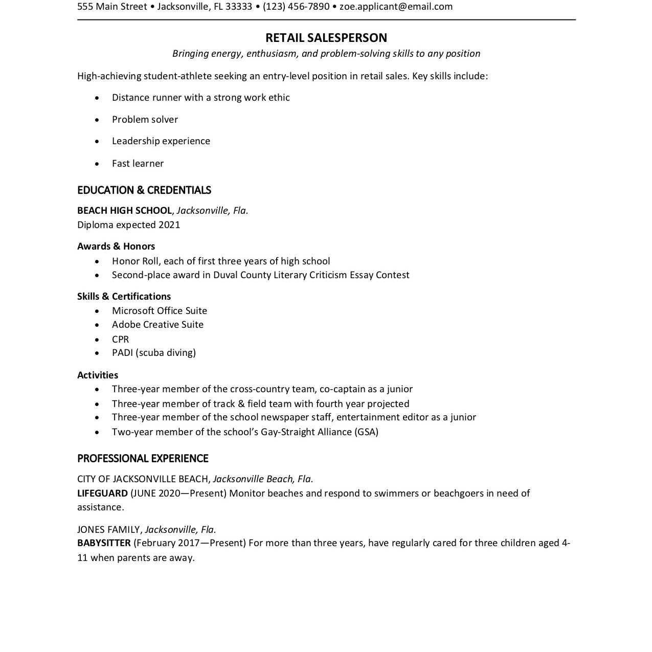 Resume writing for high school students 75