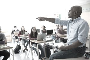 a teacher lecturing students