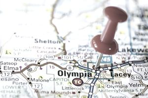 US capital cities on map series: Olympia, Washington, WA