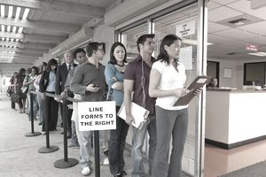 dislocated workers standing in job line
