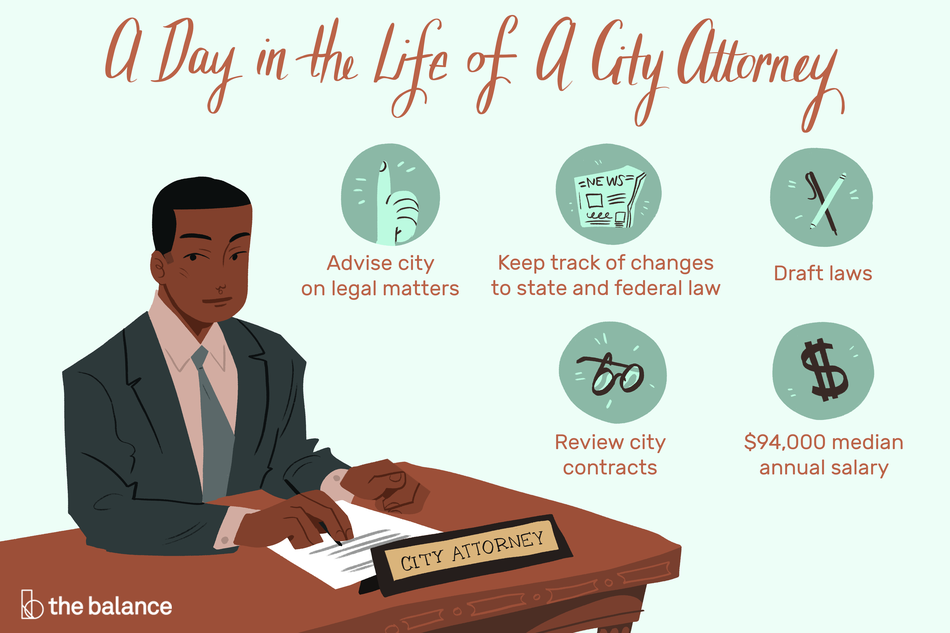 "Image shows a man sitting at a desk looking over a document. He is wearing a suit and in front of him is a nameplate that reads ""city attorney"". Text reads: ""A day in the life of a city attorney: advise city on legal matters, keep track of changes to state and federal law, draft laws, review city contracts, $94,000 median annual salary"""