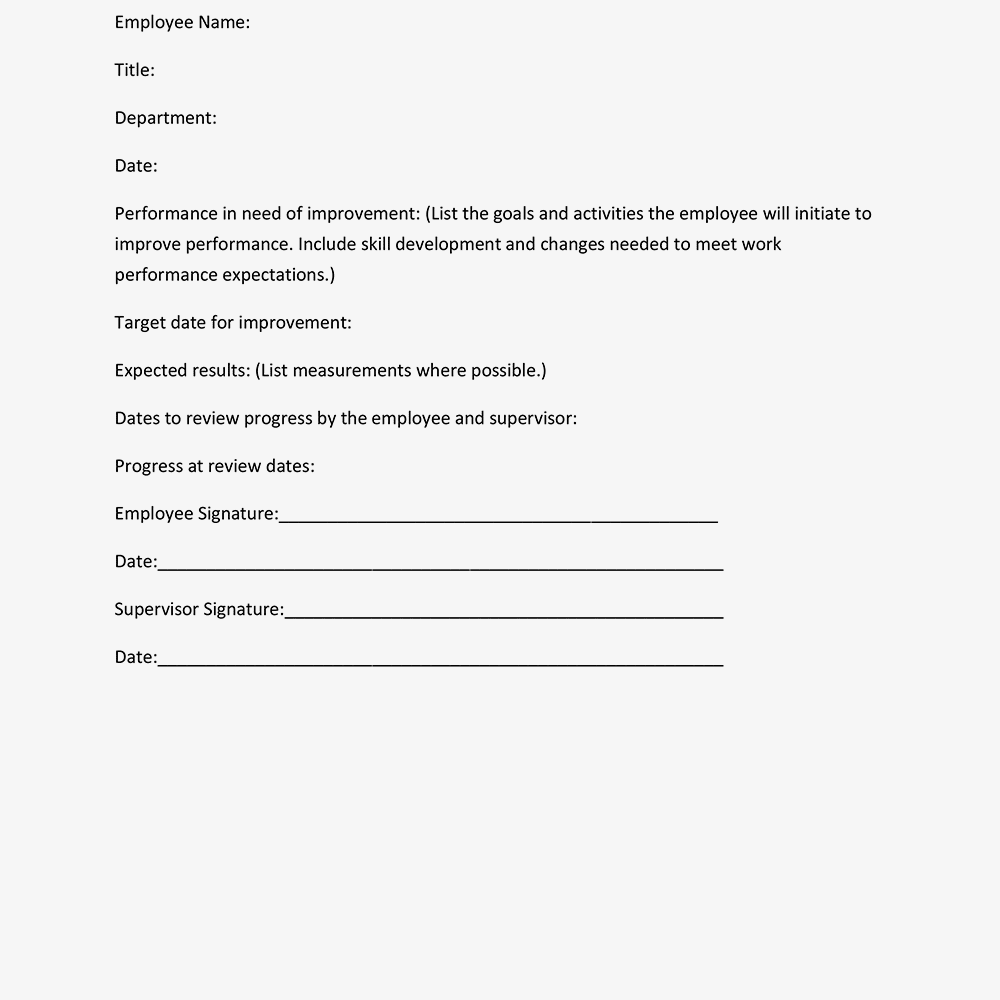 Performance Improvement Plan Form Example Text Version Employee Name
