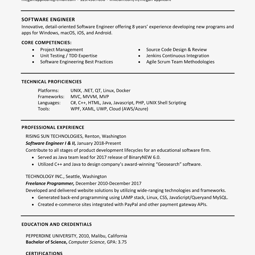 software experience on resume