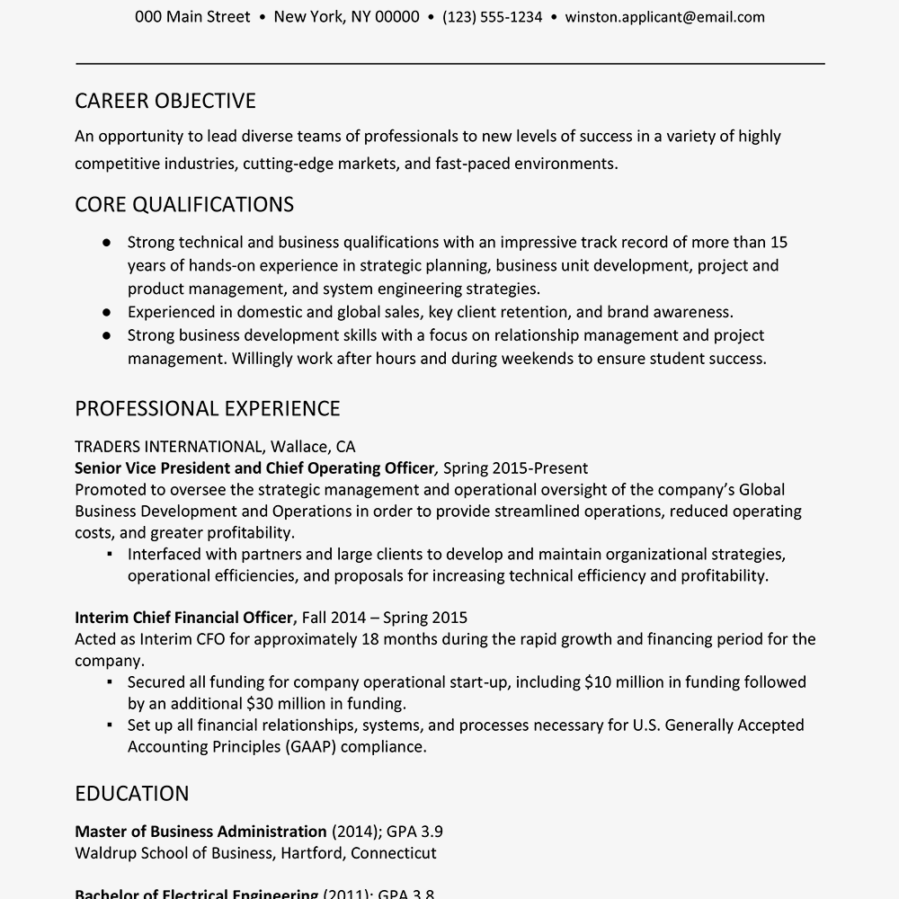 resume for new career