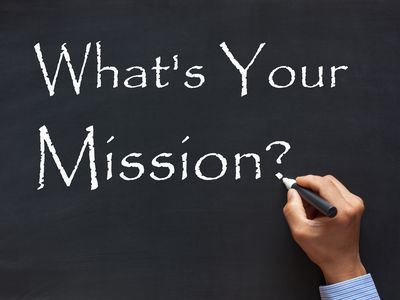 Chalkboard with What's Your Mission written on it