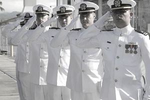 Naval officers in row saluting