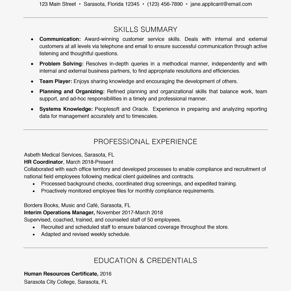 resume example with a key skills section