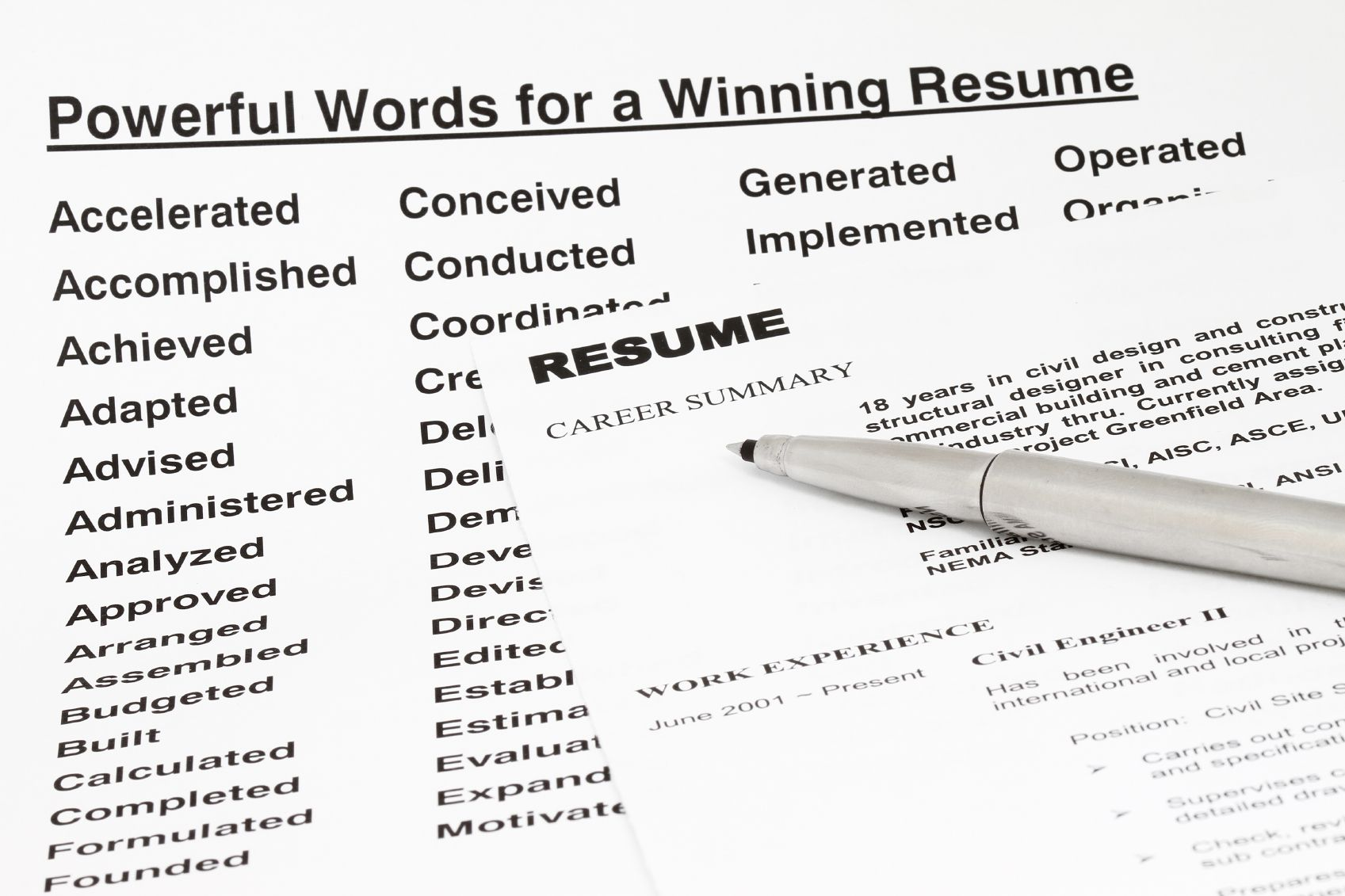 key words to use on a resumes
