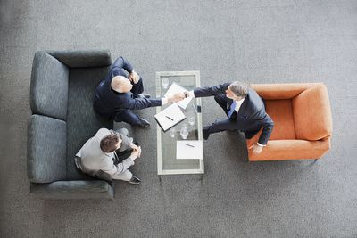Aerial view of people in a business meeting