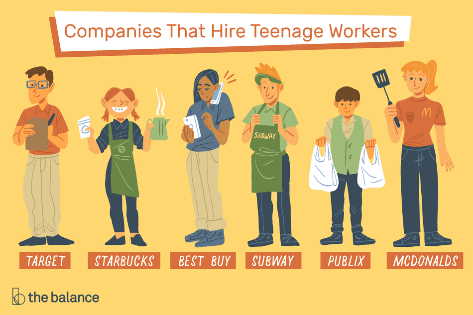 Illustration showing companies that hire teenagers