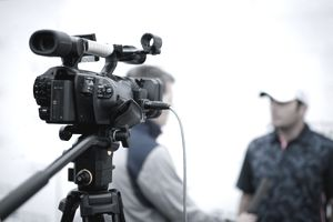 A picture of a video camera during a live shot