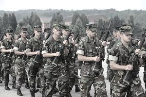 Marines marching in formation
