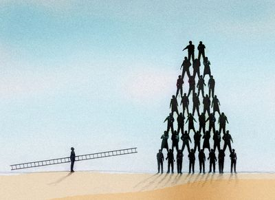Man approaching a tall pyramid, prepared to ascend the corporate ladder.