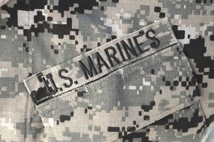 U.S. Marine Corps breast patch on fatigues