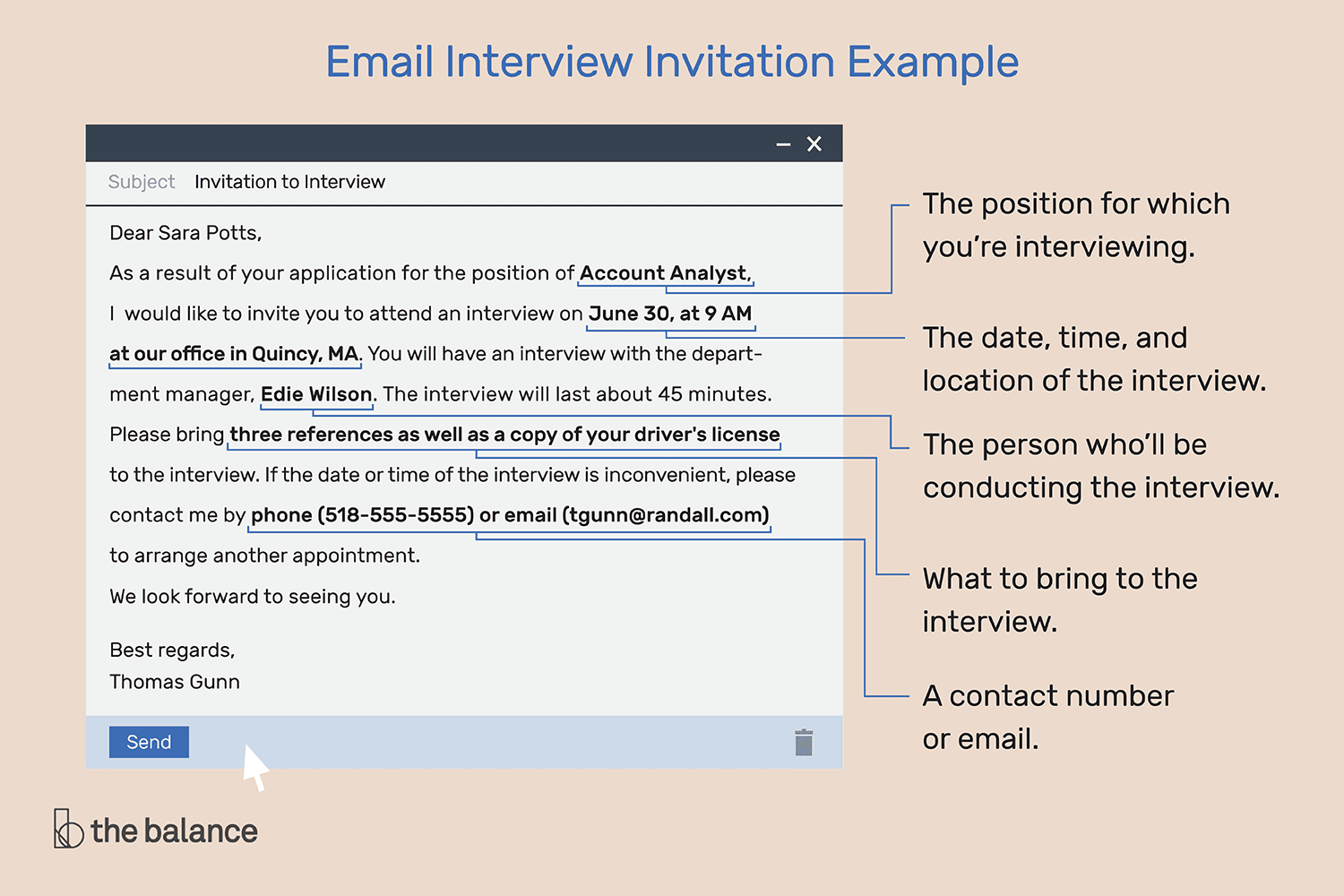 what an email invitation to an interview should include