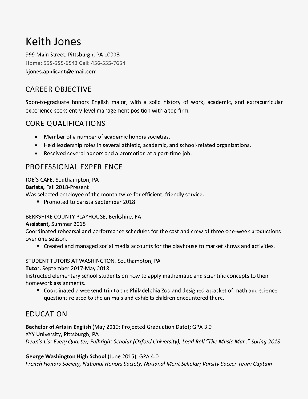 resume after high school - Garaj.cmi-c.org