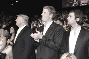 LAS VEGAS,NV - MAY 24, 2008: Donald Trump with sons Eric Trump and Donald Trump, Jr., during the UFC 84 at MGM Grand Arena in Las Vegas, Nevada.