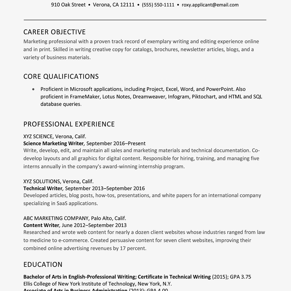 screenshot of a sample resume for a marketing and writing professional