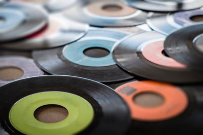 close up of 45 records