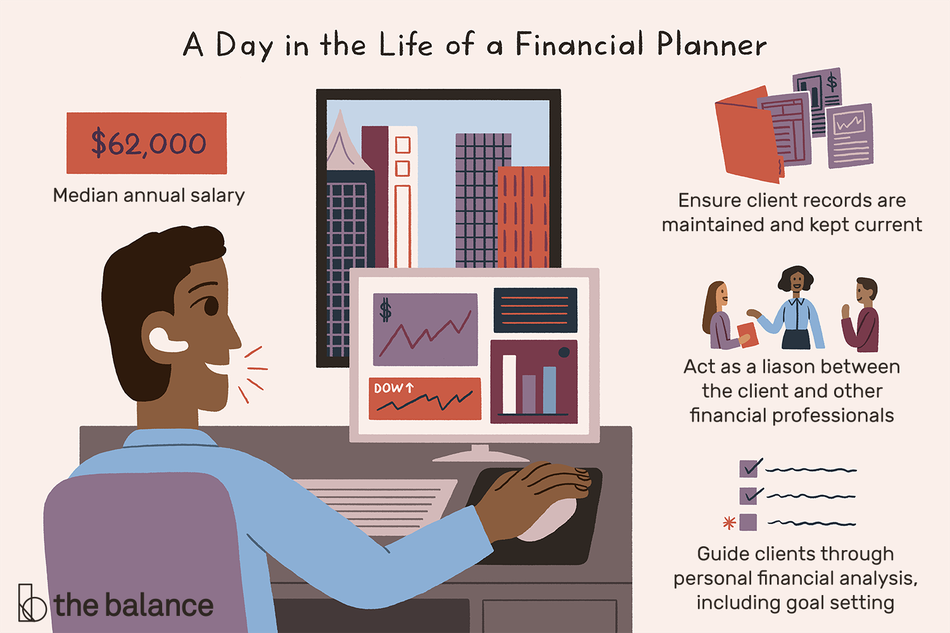 """Image shows a man sitting at a desk looking at financial charts, with a window overlooking a city. Text reads: """"A day in the life of a financial planner: ensure client records are maintained and kept current, act as a liason between the client and other financial professionals, guide clients through personal financial analysis, including goal setting. Median annual salary: $62,000"""""""