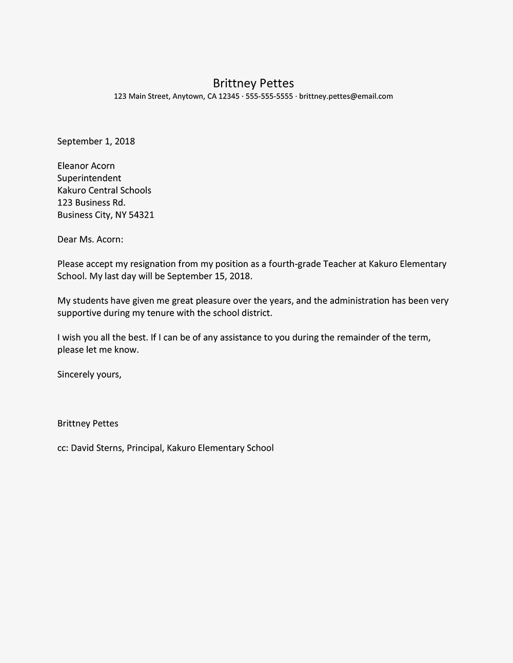 Teacher Resignation Letter Examples