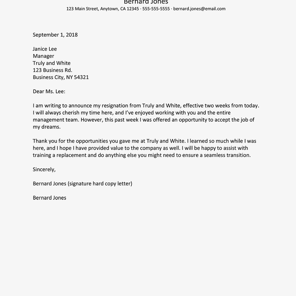 Resignation Notice Letters And Email Examples