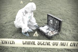Forensic scientist at work