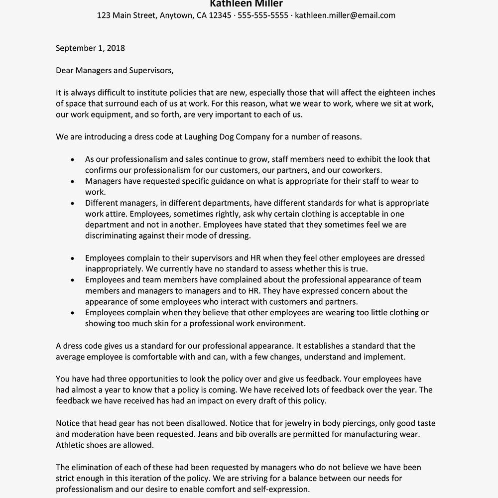 Sample Letter to Introduce a Dress Code (Text Version)