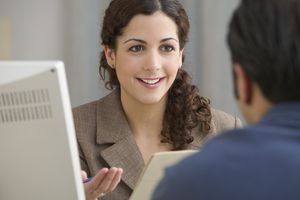 Businesswoman interviewing prospective employee