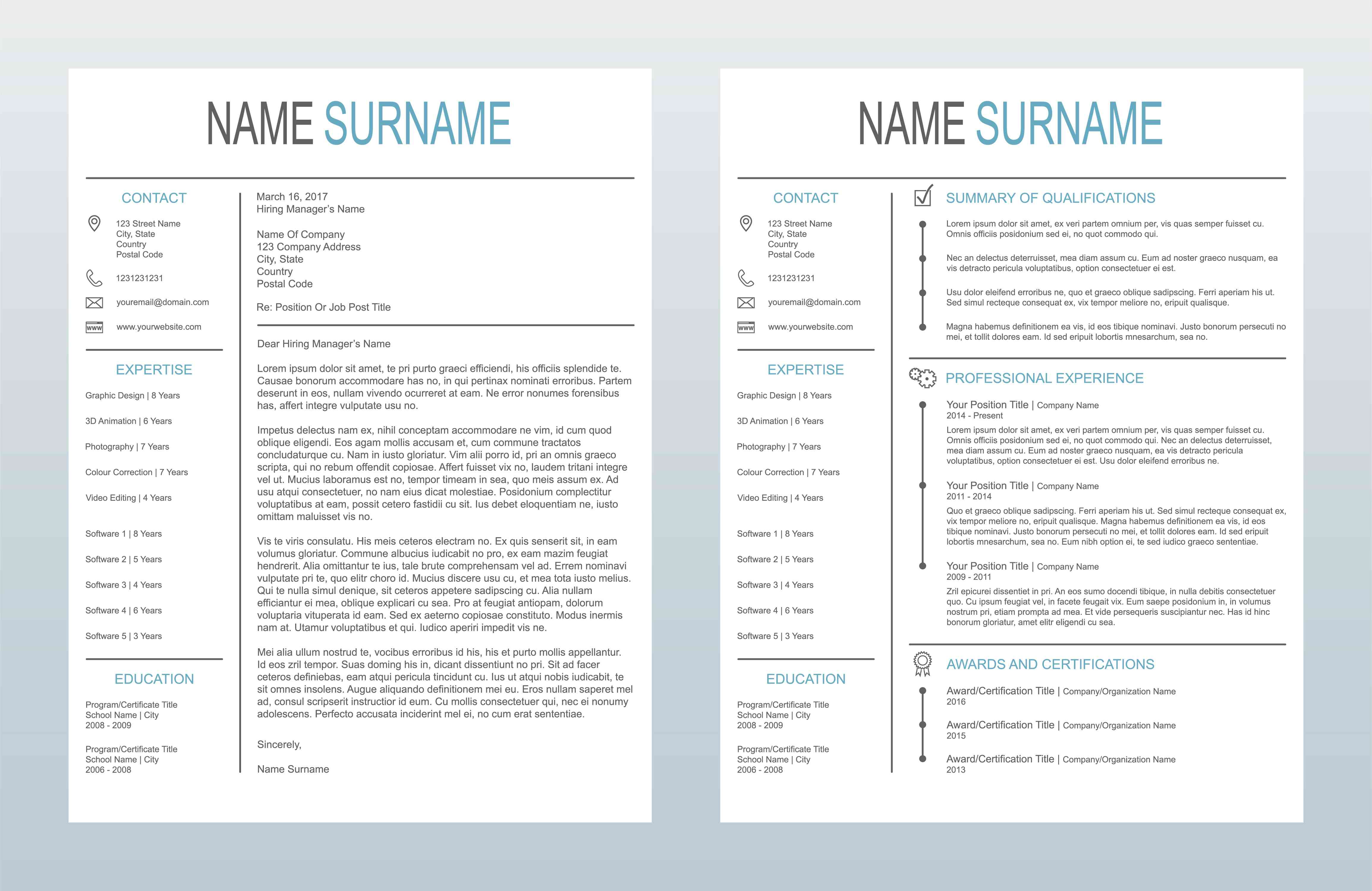 Vector Minimalist Creative Cover Letter And One Page Resume/CV Template On White Background