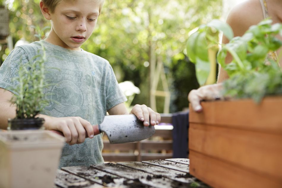 kid with trowel planting plants