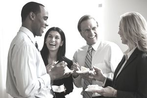 A group of SHRM members at a networking event