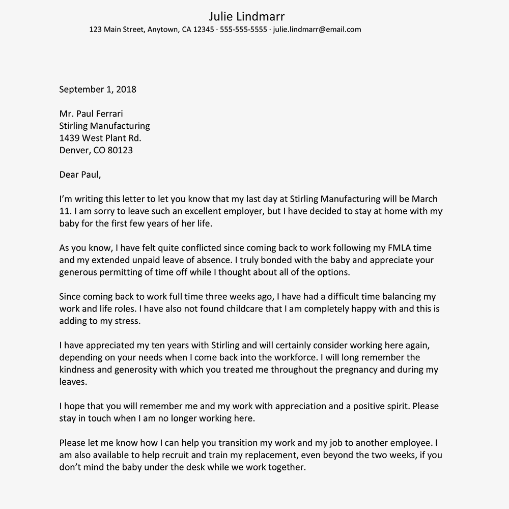Letter Sample: Resigning a Job to Care for a Child