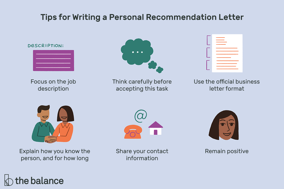 "Text reads: ""Tips for writing a personal recommendation letter: focus on the job description; think carefully before accepting this task; use the official business letter format; explain how you know the person, and for how long; share your contact information; remain positive"""