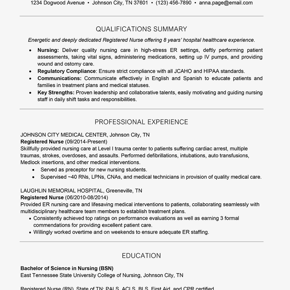 Screenshot Of A One Page Resume Example
